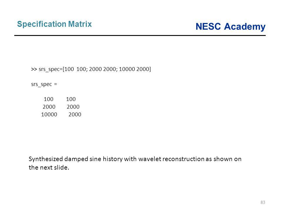 Specification Matrix >> srs_spec=[100 100; 2000 2000; 10000 2000] srs_spec = 100 100. 2000 2000.